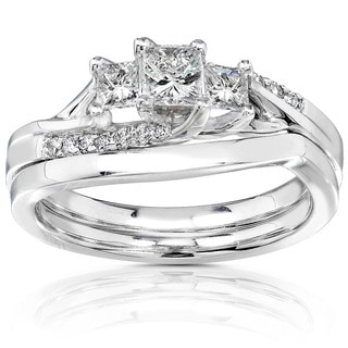 14k Gold 1/2ct TDW Diamond Princess Cut Bridal Ring Set