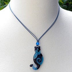 Waxed Cord Blue Glass Cat Necklace (Chile)