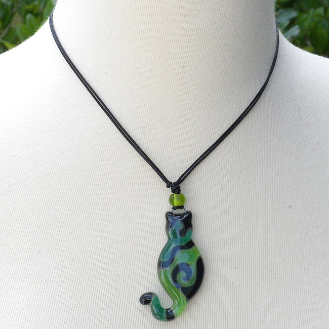 Waxed Cord Green Glass Cat Necklace (Chile)