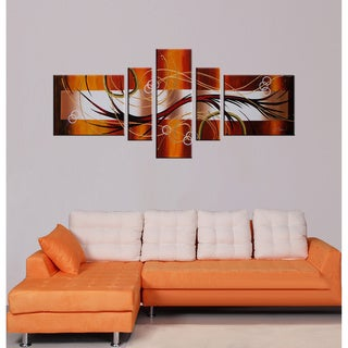 'Abstract 198' 5-piece Hand Painted Art Set