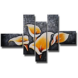 Hand Painted 'Lily Garden' 5-piece Art Set