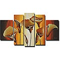 'Yellow Flower' 5-piece Hand Painted Canvas Art Set
