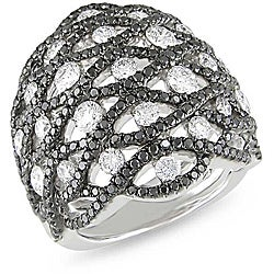 Miadora 18k White Gold 2 4/5ct TDW Black and White Diamond Ring (G-H, SI1-SI2)