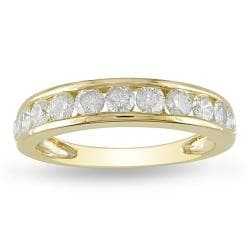 Miadora 10k Yellow Gold 1ct TDW Diamond Semi-eternity Ring (H-I, I2-I3)