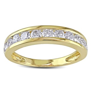 Miadora 10k Yellow Gold 1ct TDW Diamond Semi-Eternity Wedding Band (H-I, I2-I3)