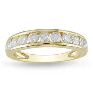 Miadora 10k Yellow Gold 1ct TDW Diamond Semi-Eternity Wedding Band (H-I, I2-I3)