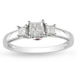 Miadora 14k Gold 1/2ct TDW Diamond and Pink Sapphire 3-stone Ring (H-I, I2-I3)