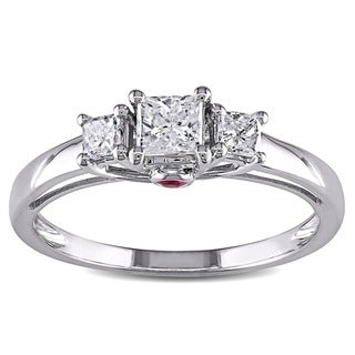 L'Amour Enrose by Miadora 14k Gold 1/2ct TDW Diamond and Pink Sapphire 3-stone Ring (H-I, I2-I3)