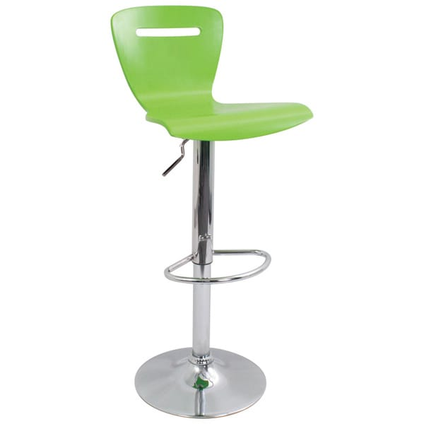 H2 Wood Hydraulic Green Barstool