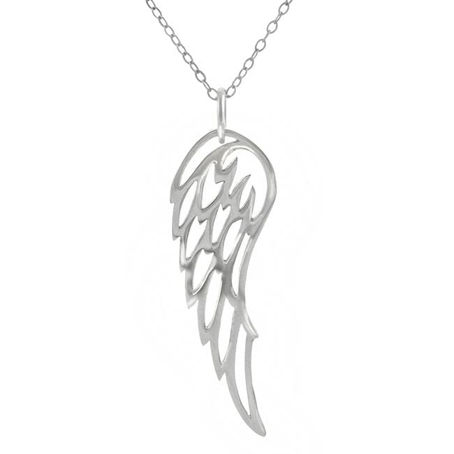 Journee Collection Sterling Silver Angel Wing Necklace