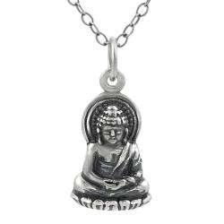 Tressa Sterling Silver Buddha on Lotus Blossom Necklace
