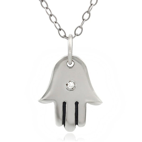 Journee Collection Sterling Silver Hamsa Hand with Diamond Necklace