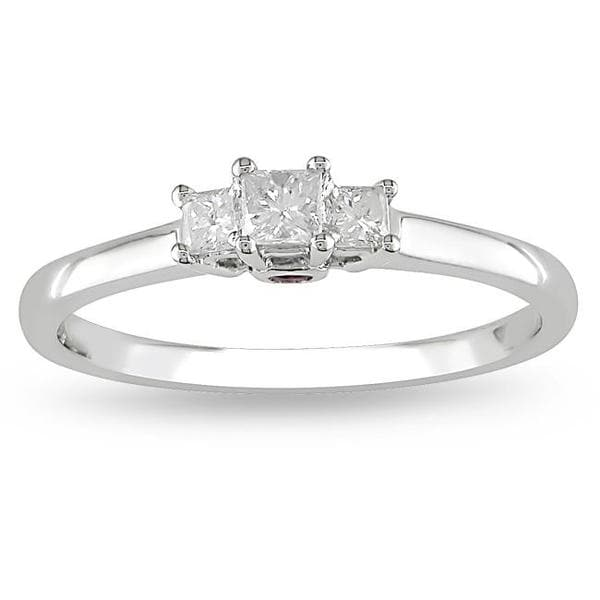 L'Amour Enrose by Miadora 14k White Gold 1/4ct TDW Diamond and Sapphire Ring