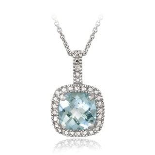 Glitzy Rocks Sterling Silver 2.35 CTW Gemstone and Diamond Accent Square Necklace