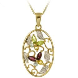 Glitzy Rocks 18k Gold over Silver Multi-gemstone and Diamond Accent Necklace