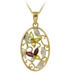 Glitzy Rocks 18k Gold over Silver Multi-gemstone and Diamond Accent Necklace
