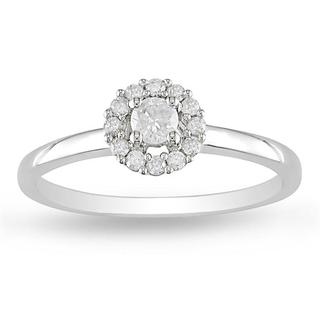 Miadora 14k White Gold 1/4ct TDW Halo Round Cut Diamond Solitaire Ring (H-I, I2-I3)