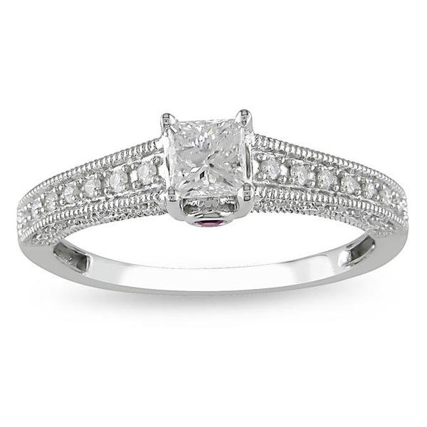 Miadora 14k Gold 1/2ct TDW Diamond and Sapphire Engagement Ring (H-I, I2-I3)