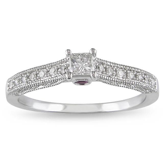 Miadora 14k Gold 1/4ct TDW Diamond and Sapphire Ring (H-I, I2-I3)