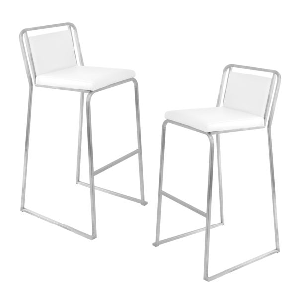 White Cascade Bar Stools (Set of 2)