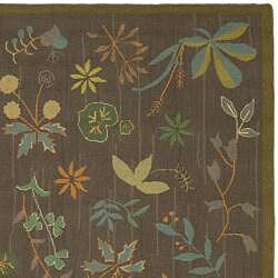 Martha Stewart Grove Twig Olive Green Wool Rug (5'6 x 8'6)