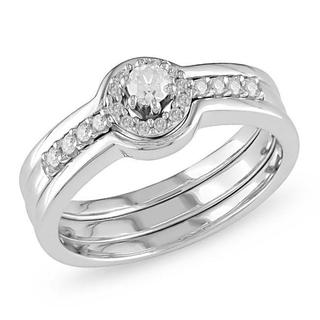 Miadora 14k White Gold 1/4ct TDW Diamond Bridal Ring Set (H-I, I2-I3) with Bonus Earrings