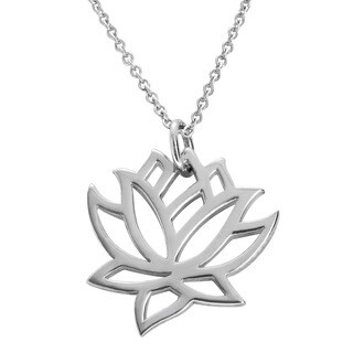 Journee Collection Sterling Silver Lotus Flower Necklace