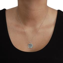 Tressa Sterling Silver Flower and Leaves Necklace