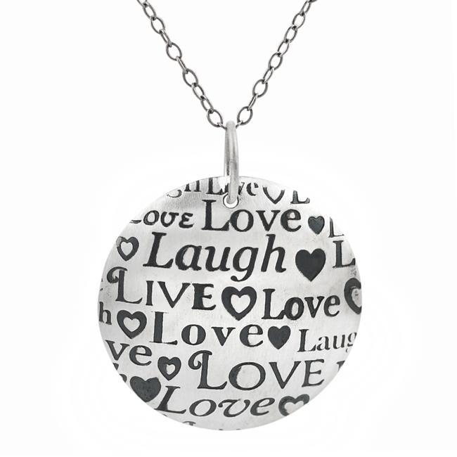 Journee Collection Sterling Silver Round Live, Laugh, Love Necklace