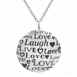Tressa Sterling Silver Round Live, Laugh, Love Necklace