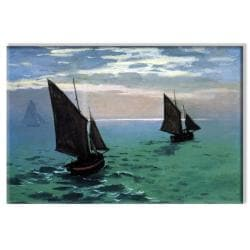Claude Monet 'Le Havre - Exit the Fishing Boats from the Port' Canvas Art