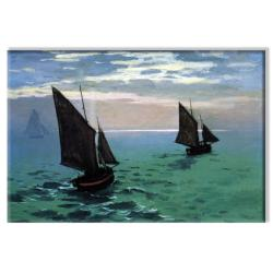 Claude Monet 'Le Havre - Exit the Fishing Boats from the Port' Contemporary Canvas Art