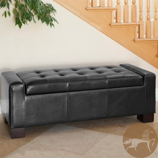 Christopher Knight Home Guernsey Black Leather Wood-frame Storage Ottoman (51 x 21 x 18)