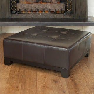 Christopher Knight Home Darlington Espresso Bonded Brown Leather Ottoman