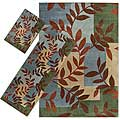 Set of 3 Green Floral Rugs (1'8 x 2'6, 2'2 x 5'11, 5'3 x 7'6)