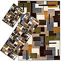 Set of 3 Blue Geometric Rugs (1'8 x 2'6/ 2'2 x 5'11/ 5'3 x 7'6)
