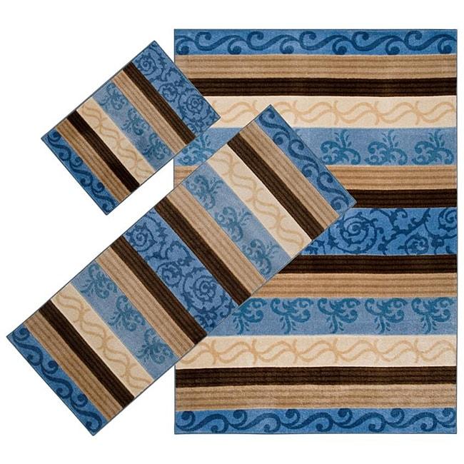 Set of 3 Blue Stripe Rugs (1'8 x 2'6/ 2'2 x 5'11/ 5'3 x 7'6)