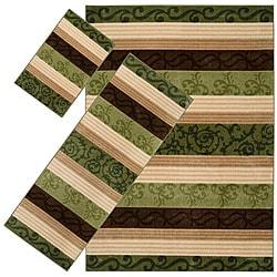 Set of 3 Green Stripe Rugs (1'8 x 2'6/ 2'2 x 5'11/ 5'3 x 7'6)