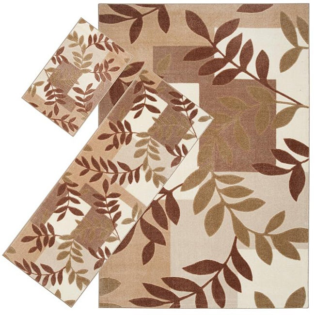 Set of 3 Beige Floral Rugs (1'8 x 2'6/ 2'2 x 5'11/ 5'3 x 7'6)