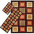 Set of 3 Brown Geometric Rugs (1'8 x 2'6/ 2'2 x 5'11/ 5'3 x 7'6)