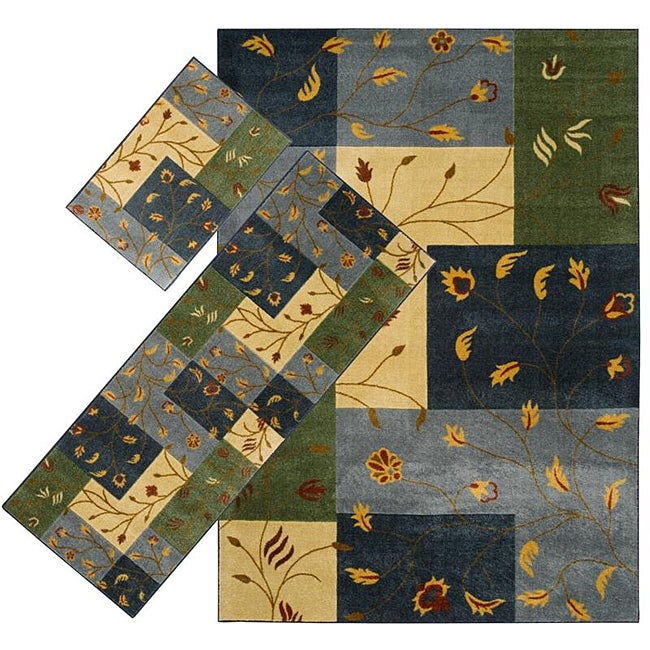 Set of 3 Blue Floral Rugs (1'8 x 2'6/ 2'2 x 5'11/ 5'3 x 7'6)
