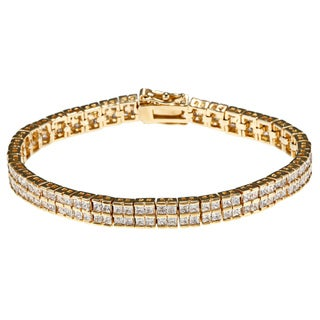 Ultimate CZ 14k Yellow Gold Overlay Cubic Zirconia Bracelet