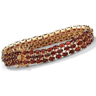PalmBeach 18k Yellow Gold over Sterling Silver Garnet Bracelet