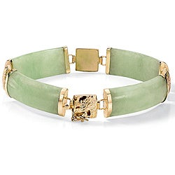 PalmBeach 14k Yellow Gold Jade Link Bracelet Naturalist