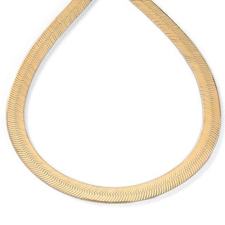 PalmBeach 18k Yellow Gold over Sterling Silver 18-inch Herringbone Chain (8.8 mm) Tailored