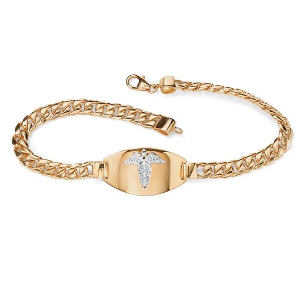 PalmBeach Men's Engraveable Medical Emergency I.D. Bracelet in 18k Gold over Sterling Silver