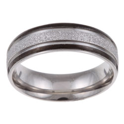 Stainless Steel Men's Diamond-cut Textured Band (7 mm)