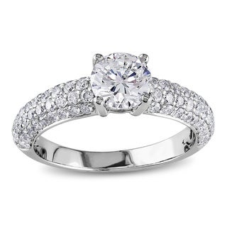 Miadora 18k White Gold 1 3/5ct TDW Diamond Engagement Ring (G-H, SI1-SI2)