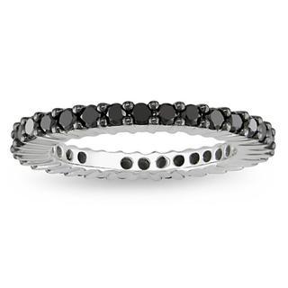 Miadora 18k White Gold 1ct TDW Black Diamond Wedding Band with Bonus Earrings
