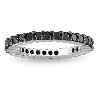 Miadora 18k White Gold 1ct TDW Black Diamond Eternity Ring